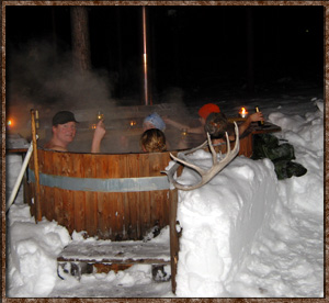 Idre Camping ice outside winter pool pot hot tub