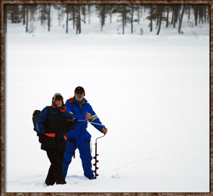 idre soralven river ice fishing icefishing drill